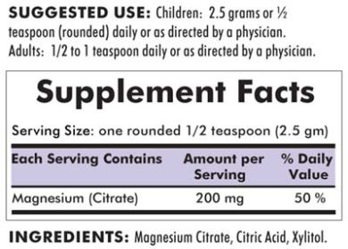 Magnesium Citrate Soluble Powder - Hypoallergenic - 8oz / 227 grams - INGREDIENTS