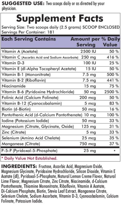 Super Nu-Thera® with 25 mg P-5-P Powder - 454 grams - 16 oz - INGREDIENTS