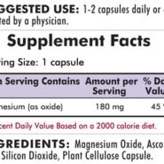 Buffered Magnesium Oxide 180 mg - Hypoallergenic - 250 capsules - INGREDIENTS