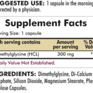 DMG (Dimethylglycine) Maximum Strength 300 mg - Hypoallergenic - 120 capsules - INGREDIENTS