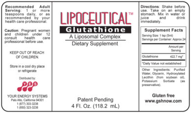 LipoCeutical Glutathione - 4oz liquid - INGREDIENTS