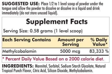 Methylcobalamin Concentrated Powder - 2oz - INGREDIENTS
