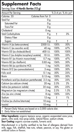 Nordic Berries - 120 gummies - INGREDIENTS