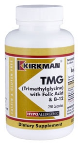 TMG (Trimethylglycine) with Folic Acid & B-12 - Hypoallergenic - 250 capsules