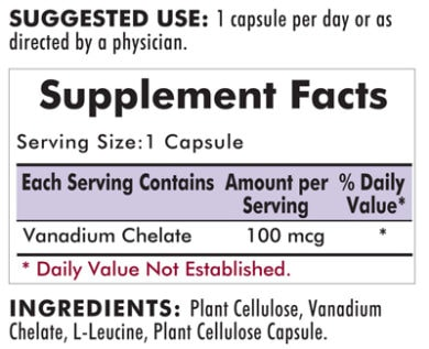 Vanadium 100 mcg - Hypoallergenic - 100 capsules - INGREDIENTS