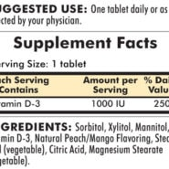 Vitamin D-3 - 1000 IU, 90 chewable tablets - INGREDIENTS