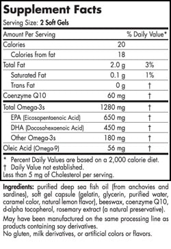 Ultimate Omega +CoQ10™ (Unflavored) - 60 softgels - INGREDIENTS