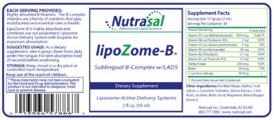 LipoZome B Complex Sublingual Liposome Spray - 2oz - INGREDIENTS