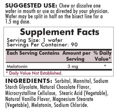 Children's Chewable Melatonin 3mg Chocolate Wafers - 90 wafers-ingredients