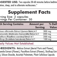 Restless Sleep Herbal Blend - 60 capsules - INGREDIENTS