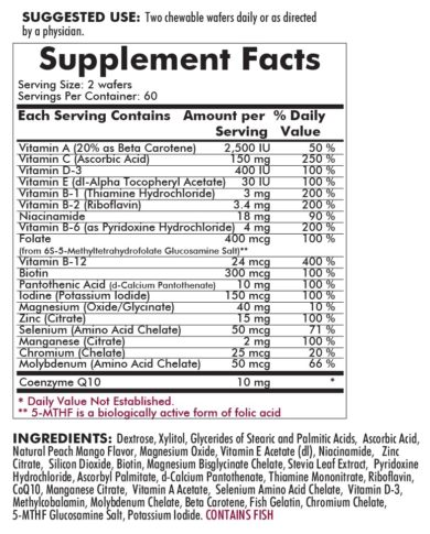 Children's Chewable Multi-Vitamin/Mineral Wafer with 5-MTHF - 120 chewable wafers - ingredients